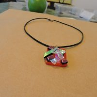 Scarlet dichroic necklace